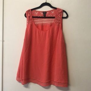 Peach embroidered 2 layer tank
